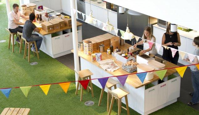 большая кухня в офисе