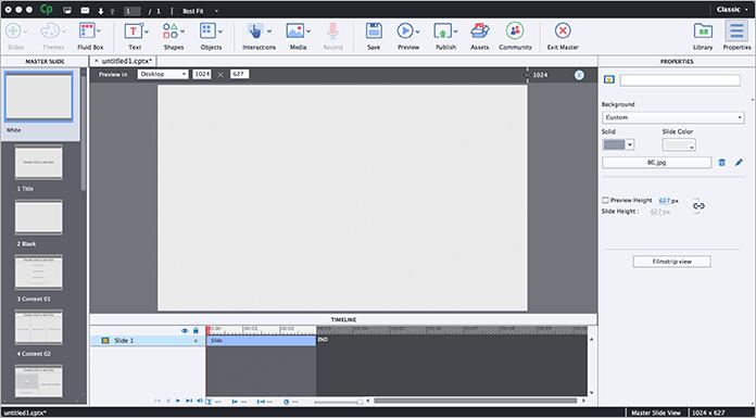 Интерфейс Adobe Captivate