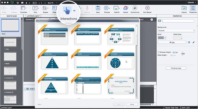 Выбор интерактивности в программе Adobe Captivate