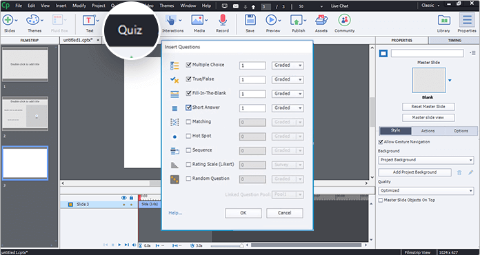 Создание тестов в программе Adobe Captivate