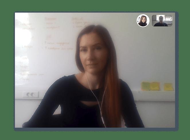Скрин с планерки в Skype менеджера проекта, Алексея и методолога