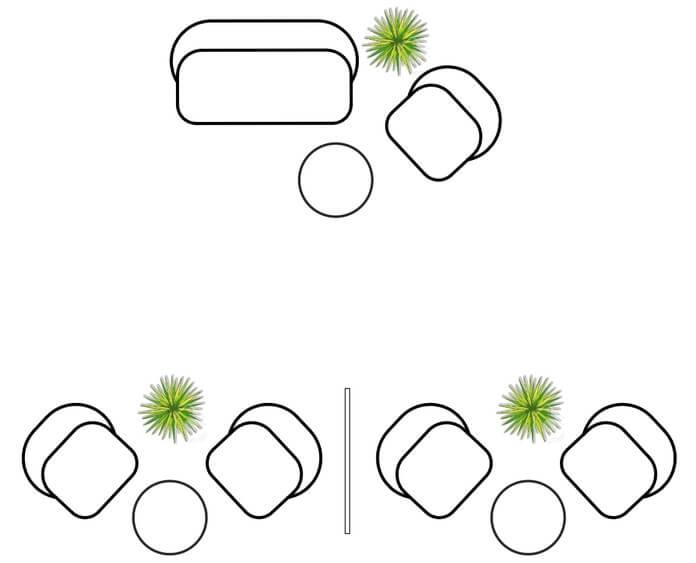 Схема лаунж-зоны с использованием компактного дивана и кресел
